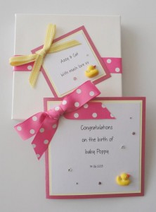 Baby Girl Duck Card Boxed