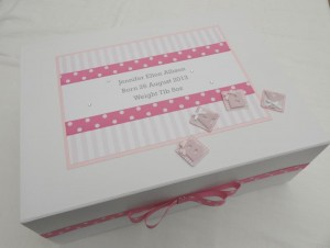 Pink Spot and Stripe Keepsake Box