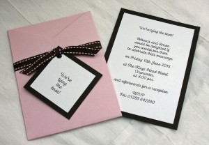 Bardot Invitation in Pink and Brown
