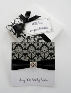 Silver Brocade Birthday Card