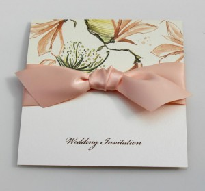 Ela Invitation - Magnolia Print with Peach Ribbon