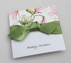 Ela Invitation - Magnolia Print with Green Ribbon