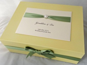 Meredith Keepsake Box Meadow Green Ribbon