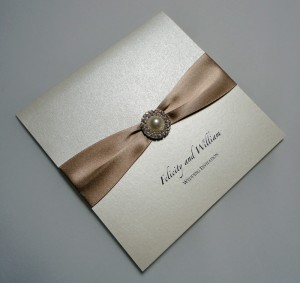 Meredith Invitation Ivory and Taupe