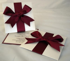 Oleron Invitations in Burgundy Red