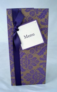 Rialto Menu Purple & Gold Brocade