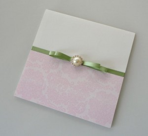 Warwick Damask and Meadow Green Invitation