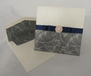 Warwick Navy and Grey Invitation